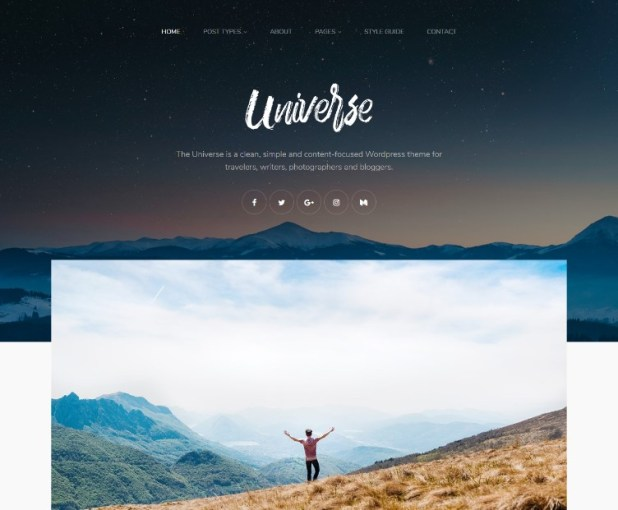 Universe - Clean, Simple & Minimal WordPress Blog Theme for Writer, Travel, Gallery, Lifestyle etc.