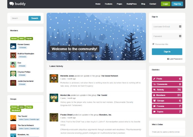 Buddy: Multi-Purpose WordPress/BuddyPress Theme