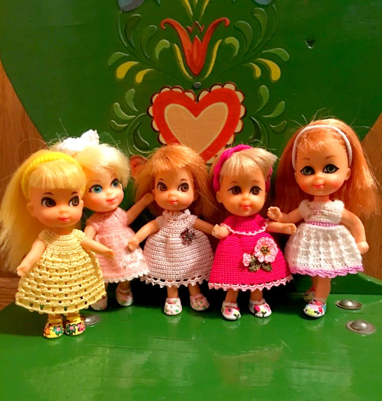 Liddle Kiddles dolls. Crochet dresses for them.