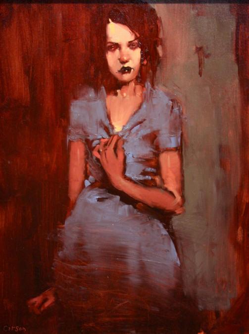 Blue Dahlia Oil On Canvas By Michael Carson