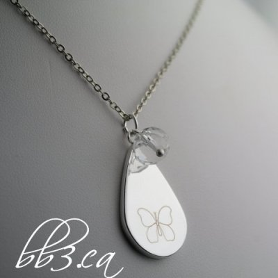 Butterfly Teardrop Necklace with Choice of Bead Color