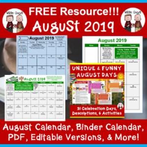 editable august calendar for teacher