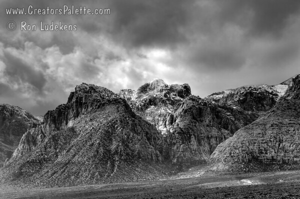 Storm over Red Rock Canyon B&W
