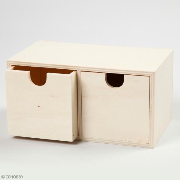meuble casier a tiroirs en bois brut 2 tiroirs 18 x 9 5 x 10 cm