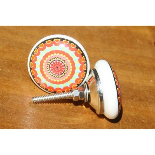 bouton plat de porte ou tiroir orange et vert de 40 mm de diametre