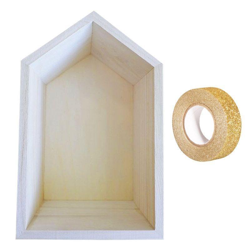 etagere bois maison 22 5 x 14 x 10 cm masking tape dore a paillettes 5 m offert boite rangement peinture creavea