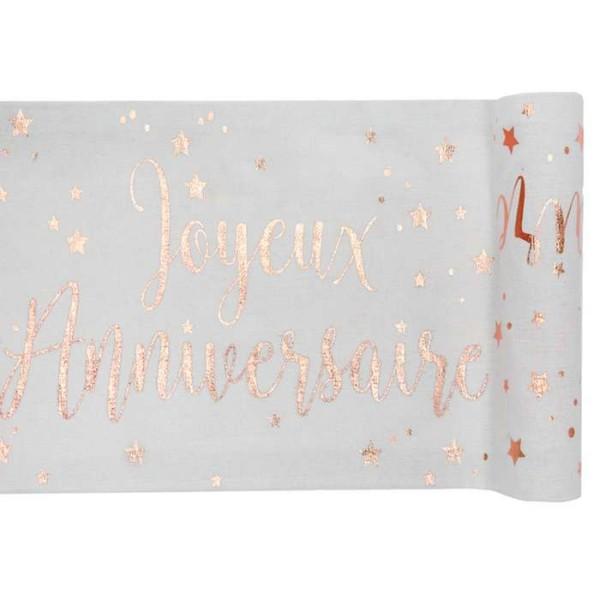 chemin de table joyeux anniversaire rose gold x 3 metres