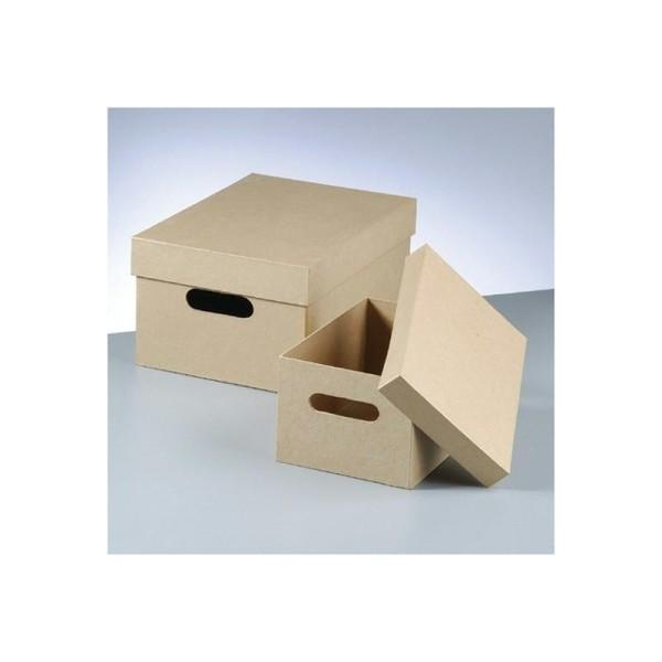 set de 2 boites de rangement avec poignees et couvercle en carton 36cm et 26cm