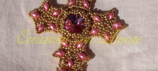Ciondolo croce bijoux di perline