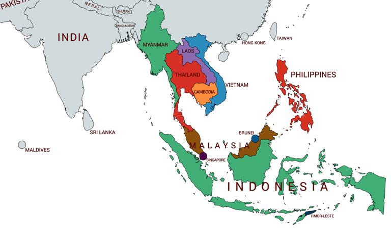 mapa países sudeste asiatico