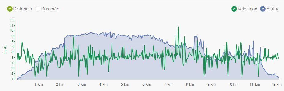 grafico distancia, pendiente y tiempo de Vorgeschichtsweg