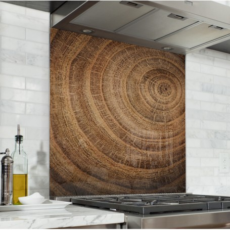 fond de hotte marron texture bois verre alu credence cuisine deco