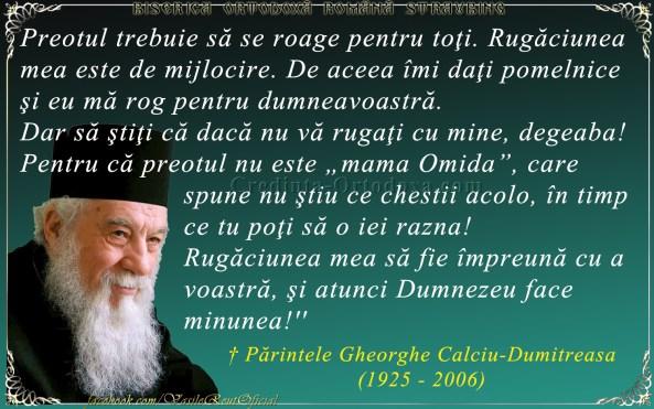 Parintele Gheorghe Gheorghe Calciu Dumitreasa - Dumnezeu face minuni când rugăciunea ta e unită cu rugăciunea preotului
