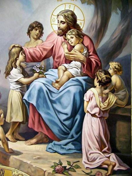 """Mântuitorul Iisus Hristos: """"Lăsaţi copiii să vină la Mine şi nu-i opriţi, căci a unora ca aceştia este împărăţia lui Dumnezeu."""" (Marcu 10, 14)"""