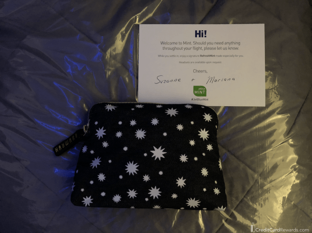 JetBlue Mint Amenity Kit, Pillow & Duvet, and Welcome Note