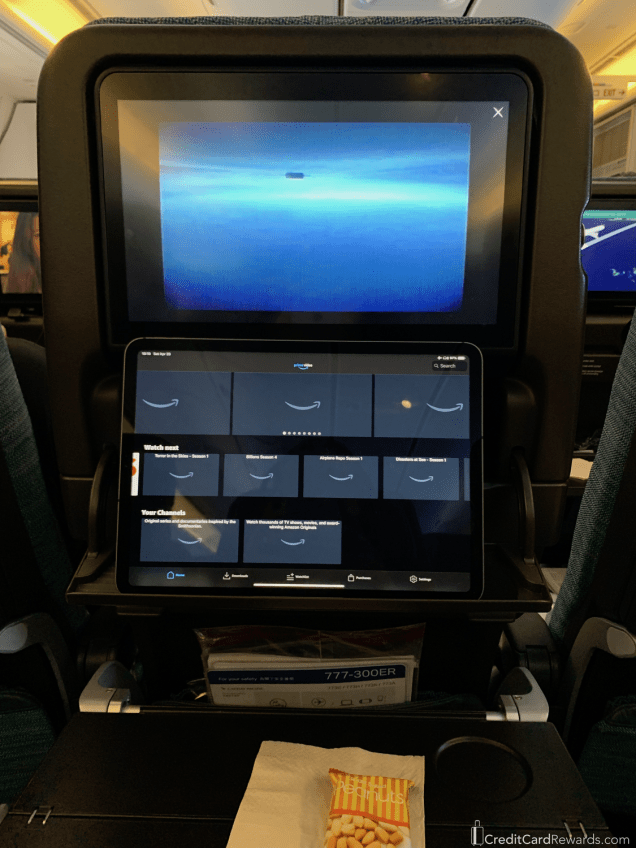 Cathay Pacific Economy Tablet Holder - Time to Kick Back and Relax a Bit