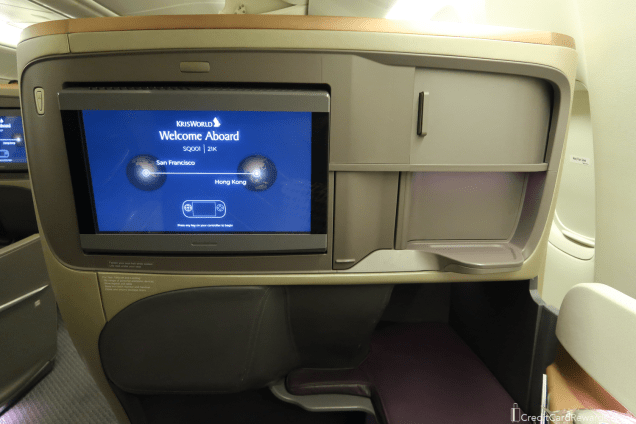 Singapore Airlines Business Class Video Screen