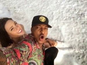 IK Ogbonna and his Pregnant Columbia Girlfriend Sonia Morales chilling of at the Beach