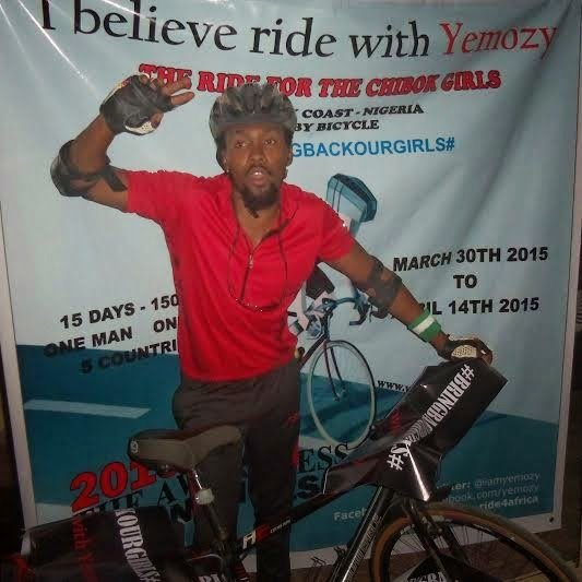 Oyekoya Yemi rides bike from Ivory Coast to Nigeria to create awareness for Chibok girls