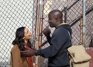 Rosario Dawson and Mike Colter share passionate kiss while Filming Luke Cage Season 2 In NYC