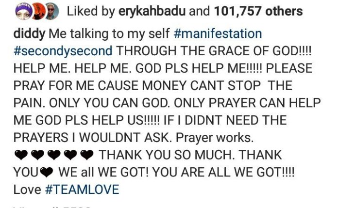 """""""God pls help me, money can't stop the pain"""" – Diddy Laments"""