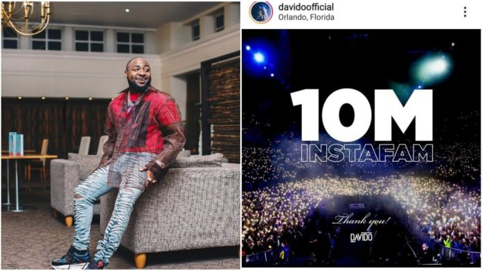 Davido reaches 10 Million Followers On Instagram, fans reacts