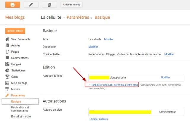Blogger - personnaliser nom de domaine