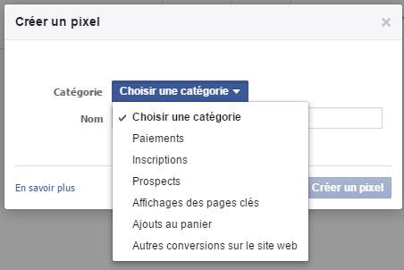 Les différentes catégories de conversion du pixel de conversion Facebook