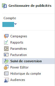 Suivi de conversion Facebook