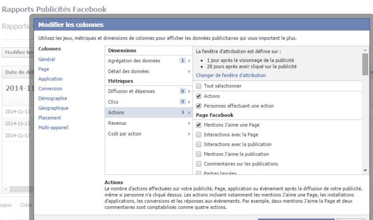 Les actions dans le rapport de publicités Facebook