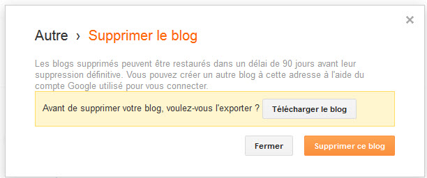 Supprimer un blog Blogger