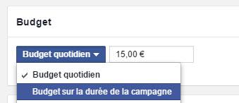 Budget pour la durée de la campagne