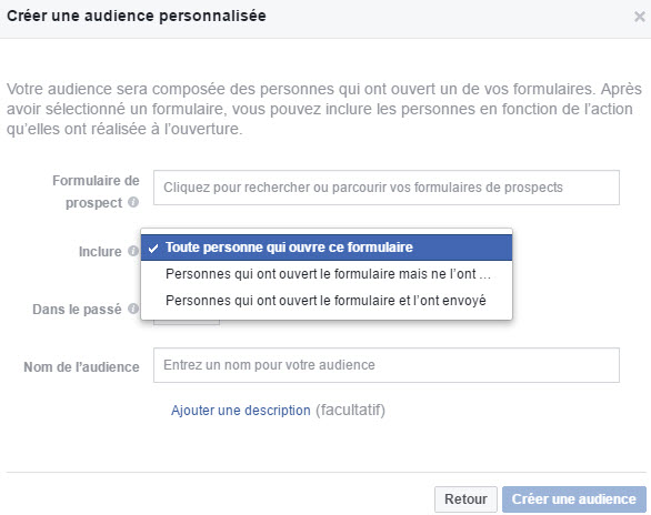 Audience personnalisée Facebook des personnes ayant ouvert votre formulaire