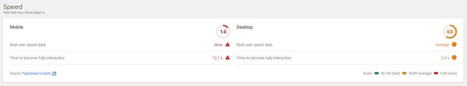 Résultats Page Speed Insight de Site Kit