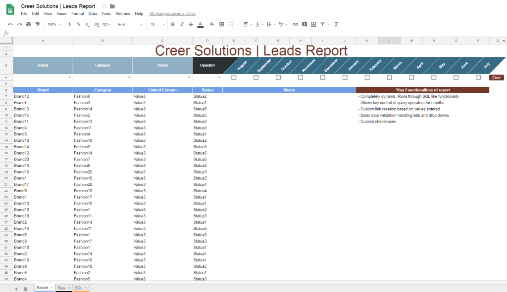 Google Sheets | Leads Report