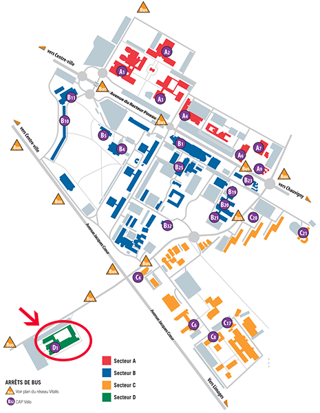 La faculté de médecine où les cours de PACES ont lieu se trouve au bâtiment D1, situé au sud-ouest du campus, à côté du CHU