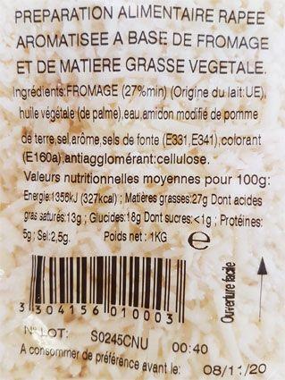 Composition du fromage râpé pour crêpes et galettes