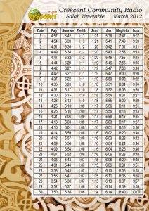 Namaza timetable