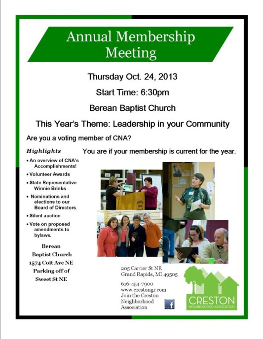 Annual Membership Meeting Flyer 2013