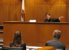 Courtroom with judge and lawyers