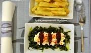 Τσιγαριαστά χόρτα με ξύγαλο (κρεμώδες τυρίΣητείας) και αγουρέλαιο