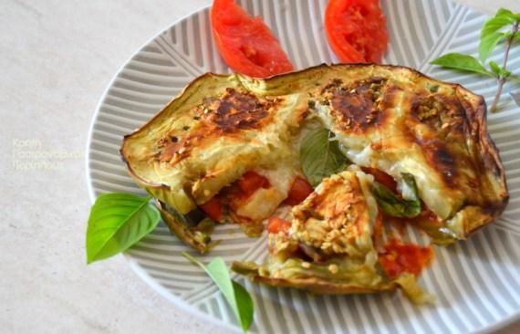 ψητές μελιτζάνες τυρί ντομάτα βασιλικός cretangastronomy.gr