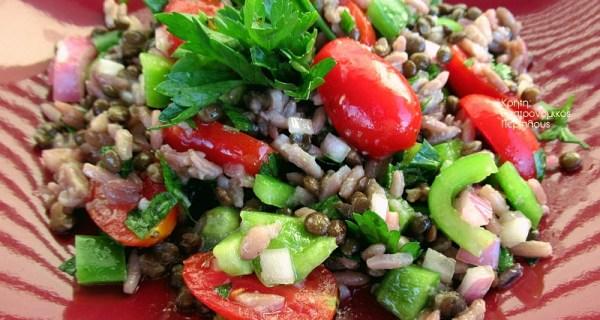 Σαλάτα με φακές και ρύζι