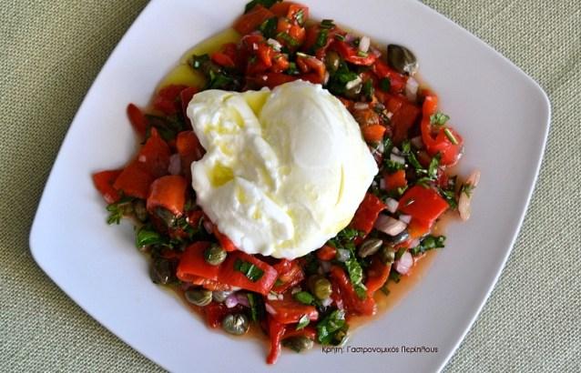 Σαλάτα με ξιδάτες κόκκινες πιπεριές