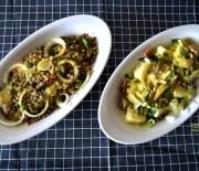 Δυο σαλάτες με ρέγγα: με πατάτες και με φακές