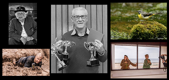 CPS Photographer of the Year Bob Brown surrounded by some of his winning shots. (L to R) Reg, Grey Wagtail, Photo Shoot and Official Photographer.