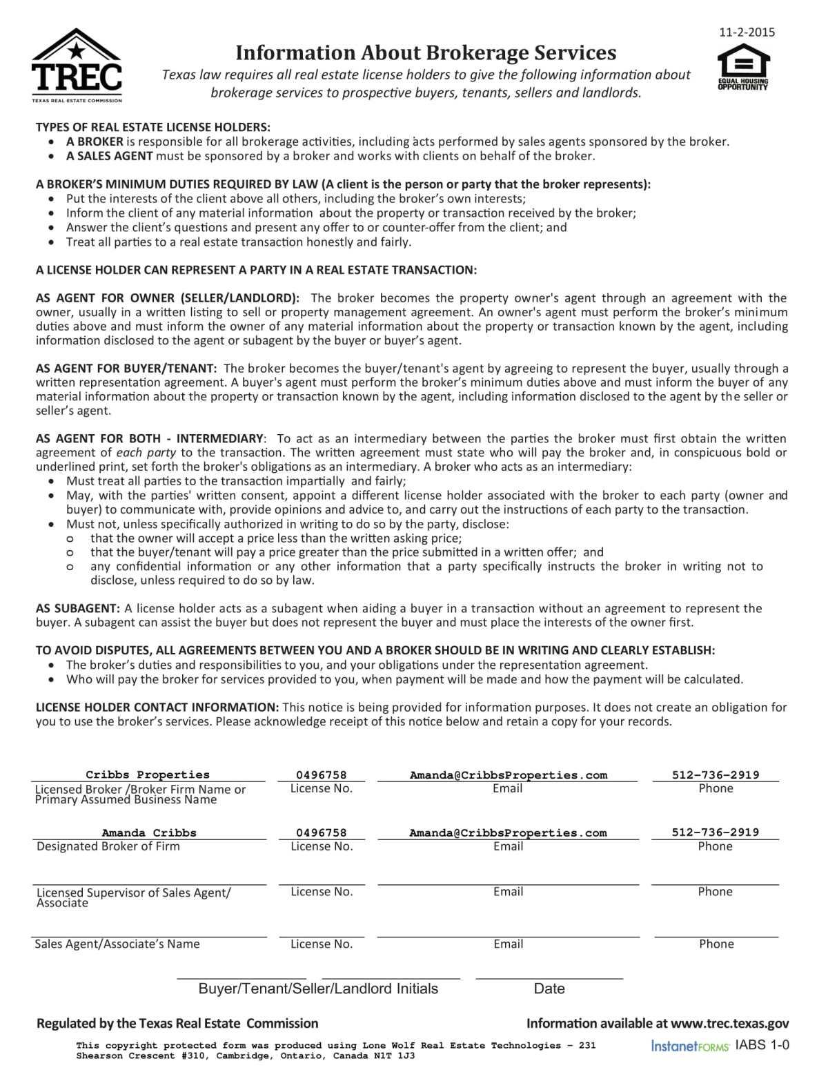 Information About Brokerage Services (TREC No. OP-K) (1)-1
