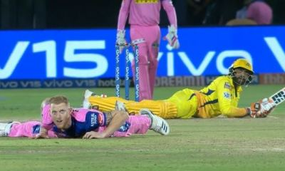 IPL 2019: Everyone's on the floor, what's happening in Jaipur? Watch Video. Ben Stokes and Ravindra Jadeja were on the ground