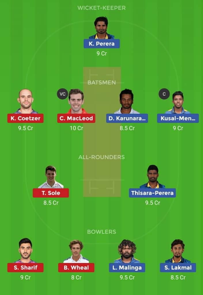 Scotland vs Sri Lanka Dream 11 team