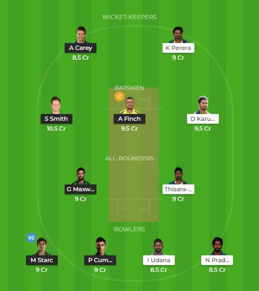 Sri Lanka vs Australia Dream 11 Team